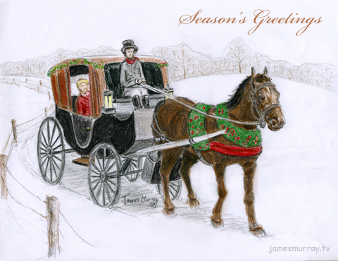 Holiday Greeting: Horse-drawn Carriage